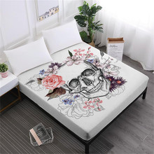 Halloween Series Bed Sheets Sugar Skull Fitted Sheet Floral Rose Print Colorful Mattress Cover Soft Bedclothes D35