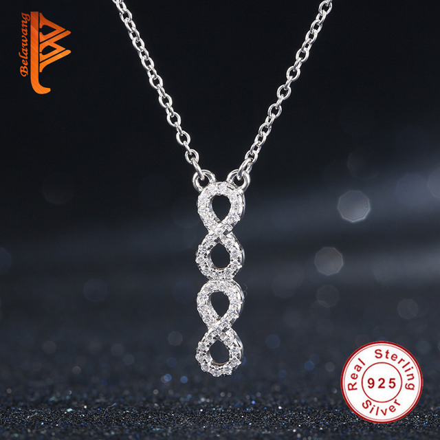 Luxury Fashion Jewelry 925 Sterling Silver Crystal Double Infinity Necklace&Pendant for Women Adjustable Long Chain Necklace