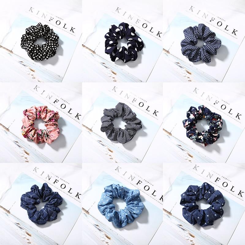 Colorful Hair Holder Rope Floral Jeans Hair Tie Elastic Headbands Denim Dot Ponytail Holders Scrunchie Hair Accessories   Headwear