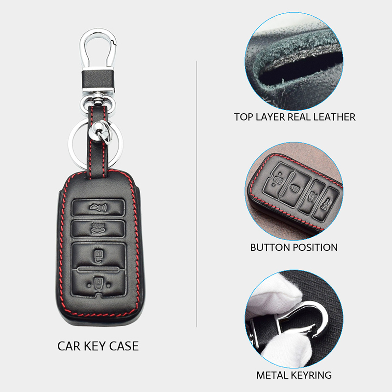 1x Leather Car Key Case For Kia Sorento K900 New K7 Cadenza 2017 2018 2019 4 Buttons Remote Control Smart Fob Protector Cover