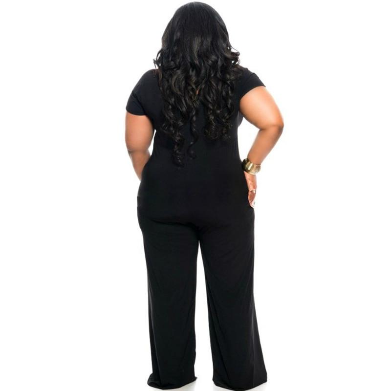 XXXL Plus Size Sexy Jumpsuits New Summer Women's Rompers Jumpsuit Casual Black Bodysuit Short Sleeve V-Neck Tunic Long Playsuits 1