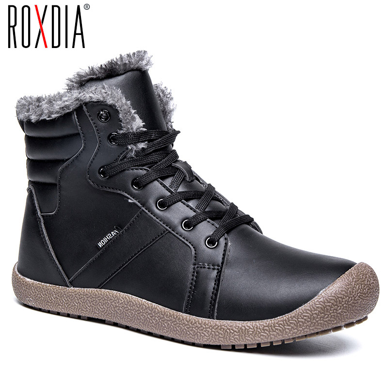 ROXDIA plus size 39-48 leather men fashion boots for casual male winter boots snow warm fur waterproof mens work shoes RXM089 roxdia genuine leather men ankle boots snow winter warm fashion work male waterproof for mens shoes plus size 39 48 rxm051