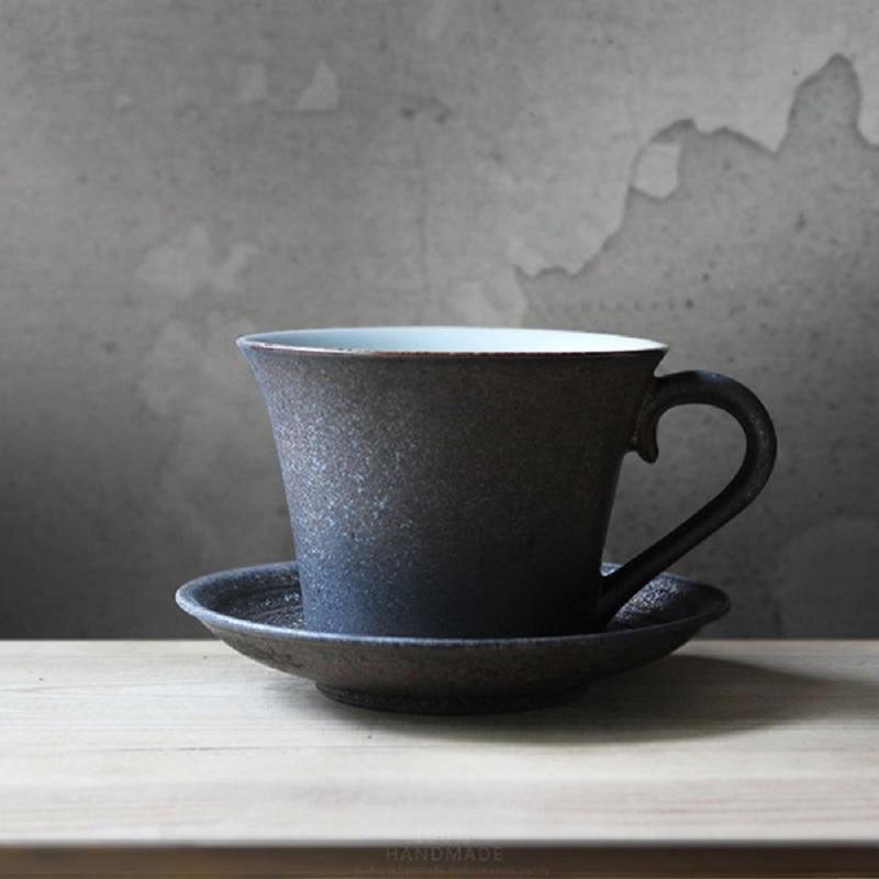 Handmade Coffee Ceramic Cup Retro Personalized Ceramic Mug Pastoral Coffee Cup Black Handmade