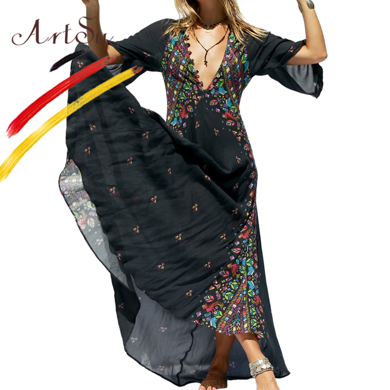 ArtSu Summer Women Button Up V Neck Vintage Maxi Dress Three Quarter Geometric Ethnic Robe Femme White Casual Boho Long Dress