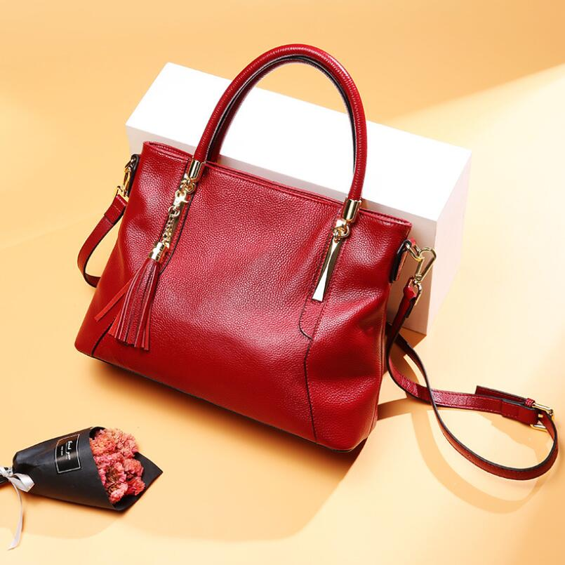 FoxTail & Lily Ladies Real Leather Tassel Shoulder Messenger Bags Women Handbags Luxury Designer Genuine Leather Crossbody Bags foxtail