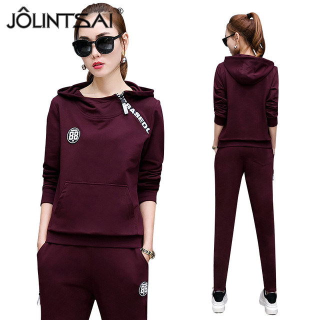Sportwear 2017 Hot New Spring Casual Tracksuit Women's 2 Piece Set Hooded Hoodies + Pants Fashion Long Sleeve Sporting Suits