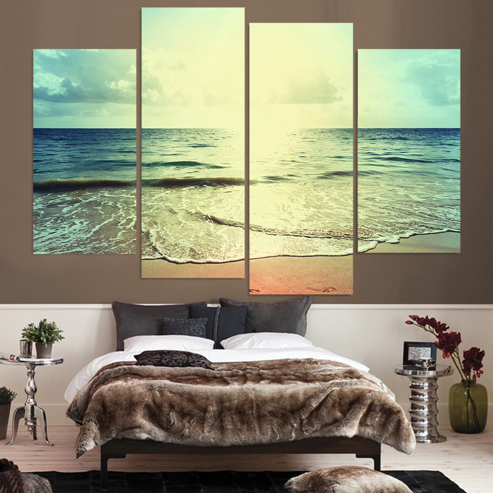 4 Piece Canvas Art Canvas Painting Beach Shore Water HD Printed Wall ...