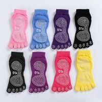 4 pairs katoen yoga sokken met vijf volledige teen non slip grips pilates sokken (zwart paars roze grijs)