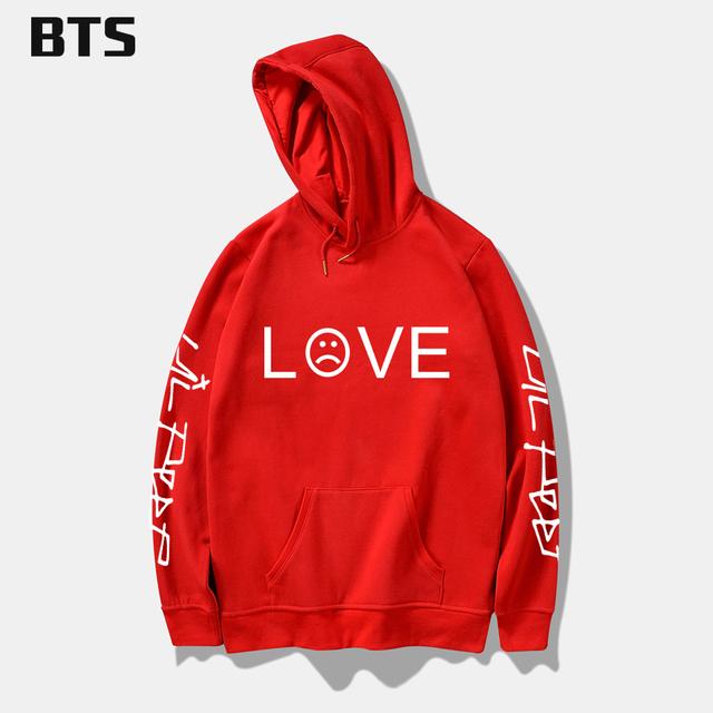 BTS Lil Peep Love Winter Hoodies Men Sweatshirts Hooded Pullover Casual Women Homme Harajuku Fashion Sweatshirts Men Long Sleeve