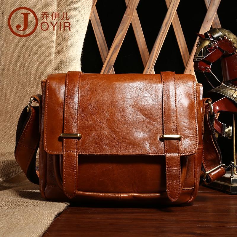 Vintage Fashion brand designer Genuine leather bag High quality Crazy Horse leather shoulder messenger bags Casual