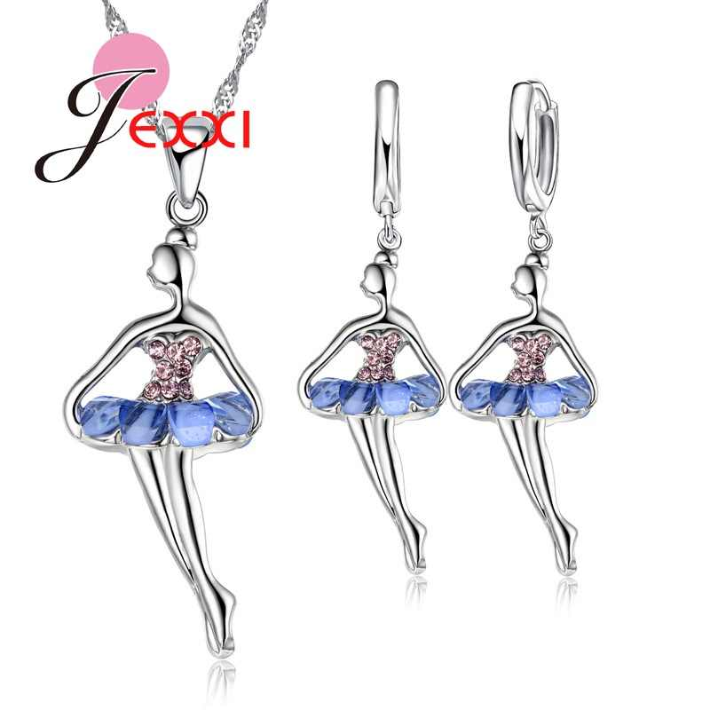 Beautiful Ballet Dancing Girl With Colorful Cubic Zircon Dress 925 Sterling Silver Fashion Jewelry Set Necklace Earrings