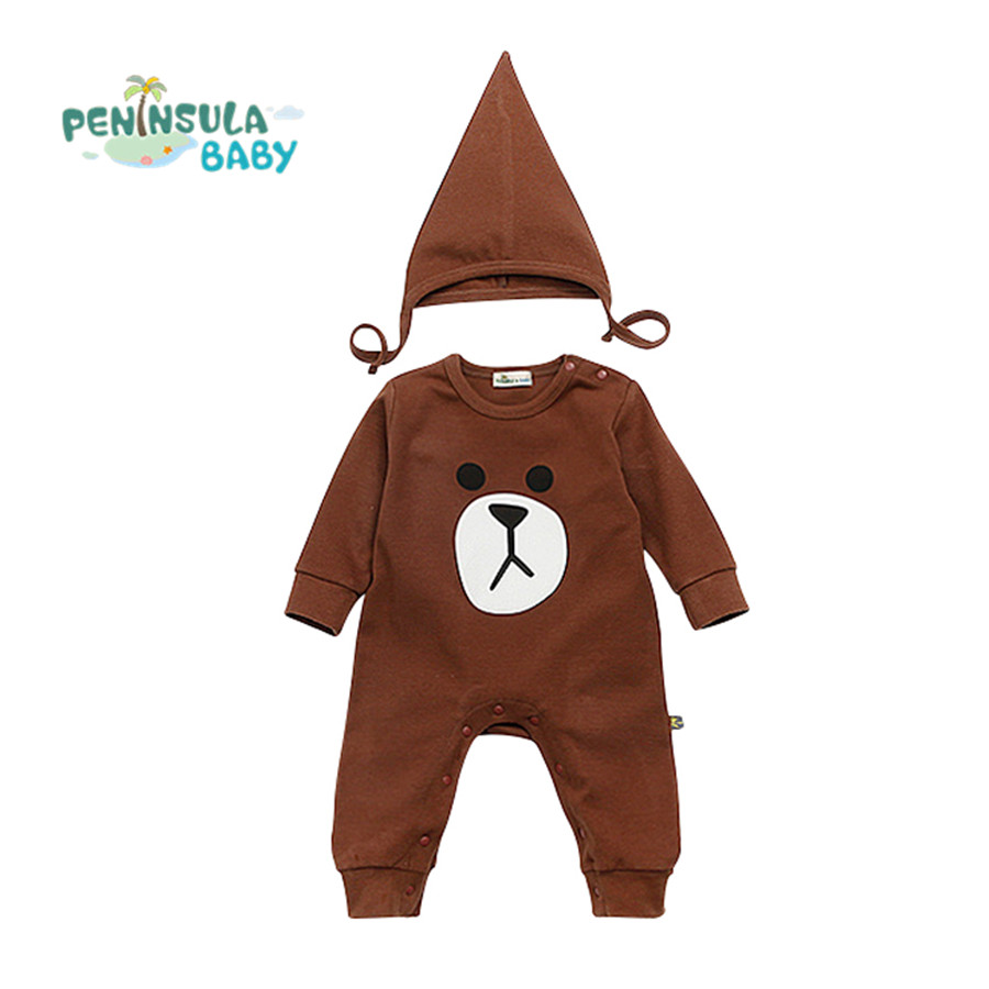 Baby Clothing Set 2017 Girl Clothes Newborn Romper + Hat Bunny Rabbit Bear Long Sleeve Baby Costume For Infant Outfit newborn baby photography props infant knit crochet costume peacock photo prop costume headband hat clothes set baby shower gift