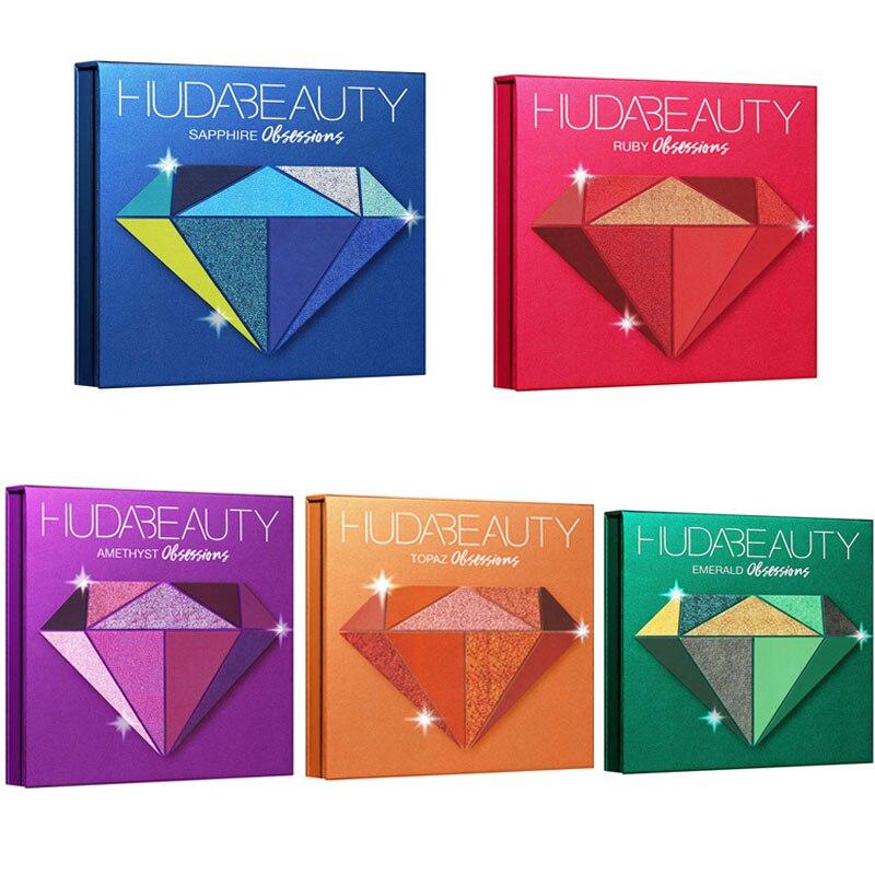 Huda Schönheit Lidschatten-palette Die Huda Schönheit Edelsteine Sammlung 9 Farben Einfach zu Tragen Lidschatten Glitter Palette