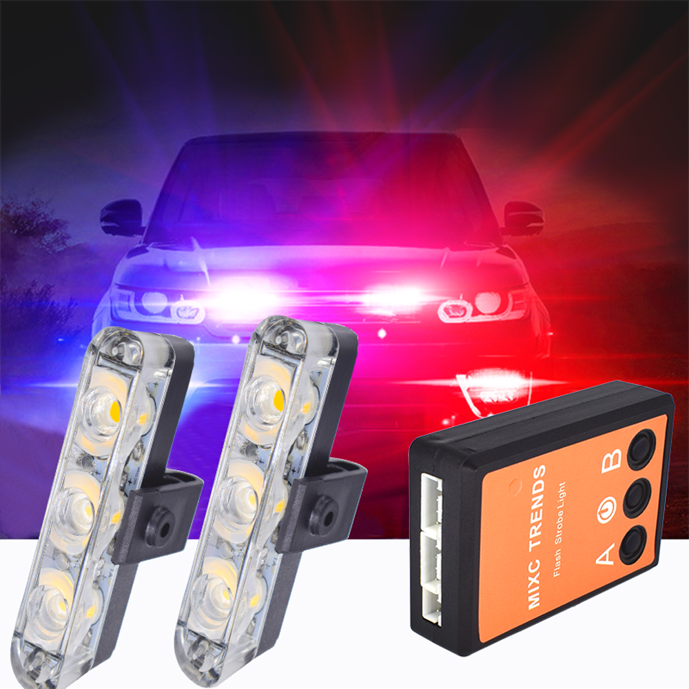 2X3 Stroboscope Led Ambulance Police Light 12V Warning Strobe Lights Auto Flashing LED DRL Firemen Emergency Car Day Lights