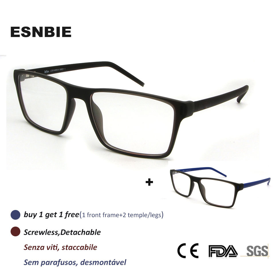 391f4edb05 ESNBIE New Screwless Square Prescription Glasses Frames Mens Nerd Business  Men S Full Rim Myopia Frames For Men 2 Pcs