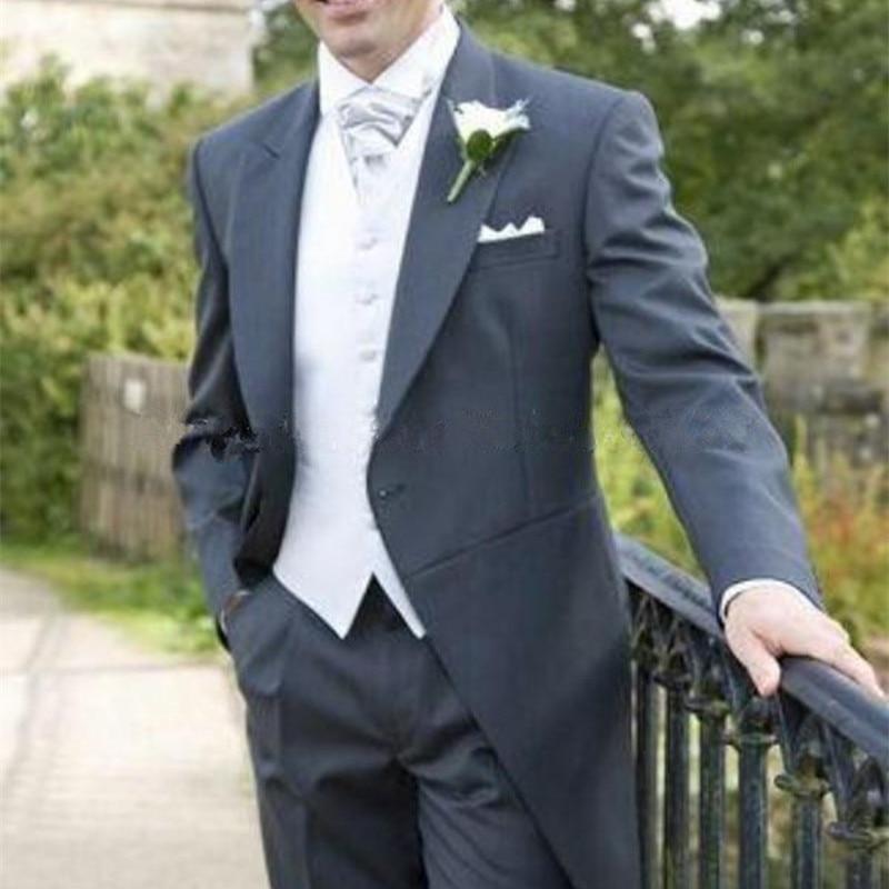 2017 grey Costume Homme Custom Made Blazer Masculino Slim Fit men suit Blazer Wedding Mens Suits 3 Pcs(jacket+pants+vest)