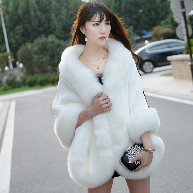 Elegant Woman Short Faux Fox Fur cloak Cashmere Shawl Winter   Scarves     Wraps   Mink Fur Cape Shawls Basic Pashmina Party coats