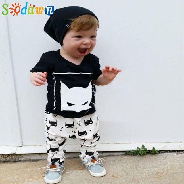 Sodawn Baby Boys Clothing Sets New Summer Style Boys Clothes Fox Black Short Sleeve T-shirt+Pants 2pcs Children Suit