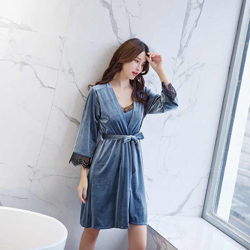Осень новый для женщин пижамы Домашняя одежда пикантные женские Ночная рубашка и халат комплект сна повседневное 2 шт. теплая ночн