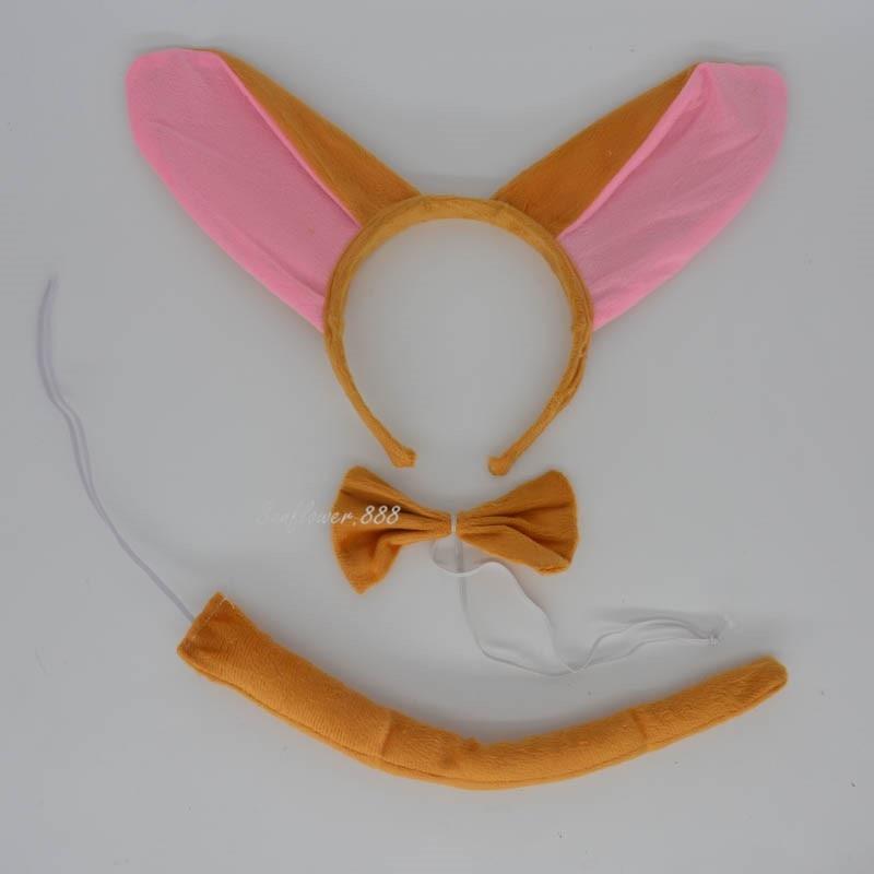 17d1802009b5e8 Piękne Dzieci Zwierząt Osioł Ear Pałąk Łuk Krawat Tail Cosplay Costume Set  Rekwizyty Wydajności Party Favor Prezent Boże Narodzenie Nowy Rok