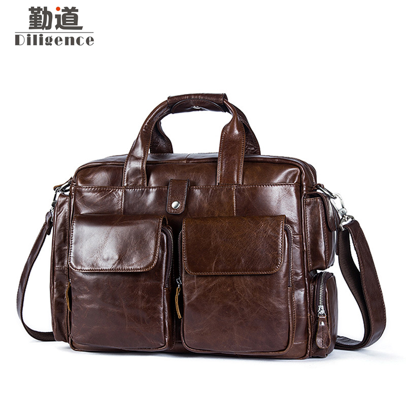 купить Business Men Briefcase Handbags Leather Laptop Bag Men Messenger Bags Genuine Leather Men Bag Male Shoulder Bags Casual Tote недорого