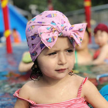 Kids Girls Baby Toddler Floral Print Turban Skull Cap Hat Swim Knotted Bow Headband Hair Band Swimwear Headwear