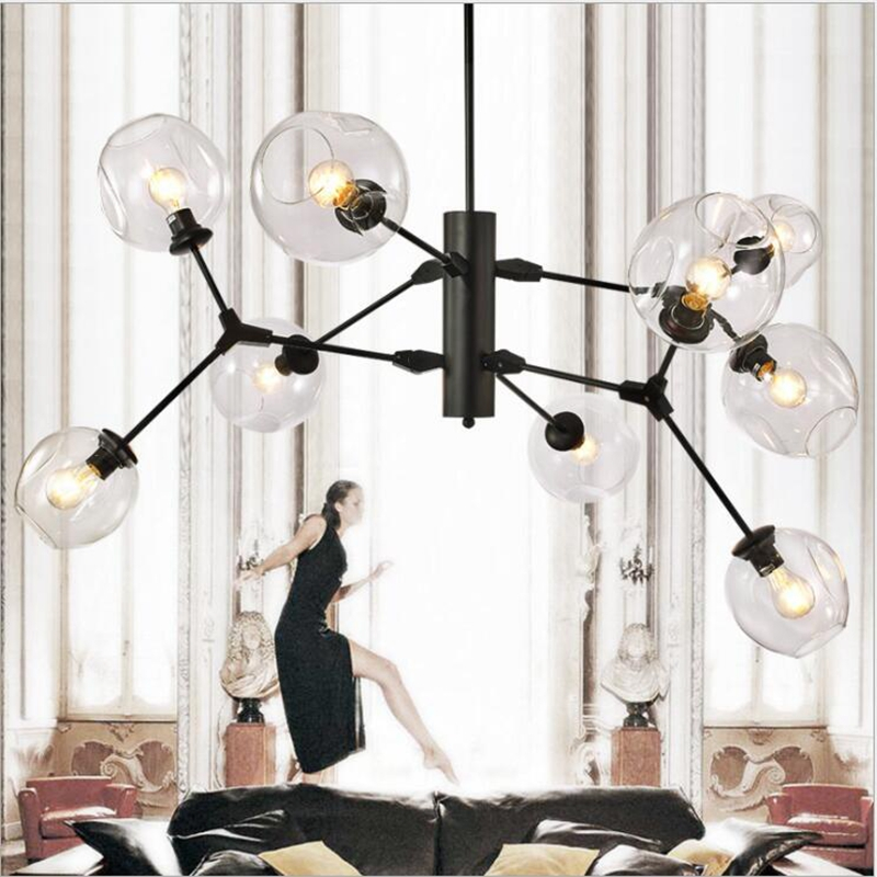 LuKLoy Post Modern Loft Chandelier Ceiling Kitchen Living Room Dining Room Shop Pendant Lamp light Glass Beam LED Light Fixtures modern magic beans dna iron loft glass ceiling light bar coffee shop branches retro bedroon dining room ceiling lamp