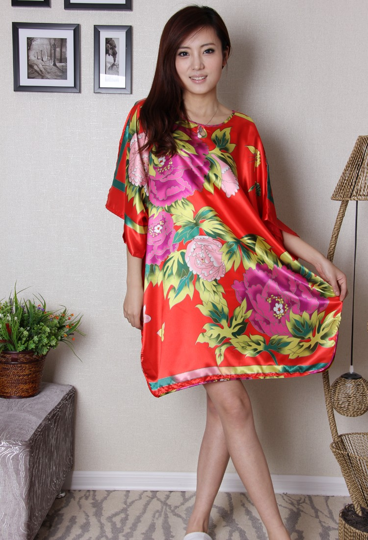Vintage Printed Flower Red Womens Bath Robe Gown Faux Silk Nightdress Chinese National Sleepshirt Home Dress One Size A116