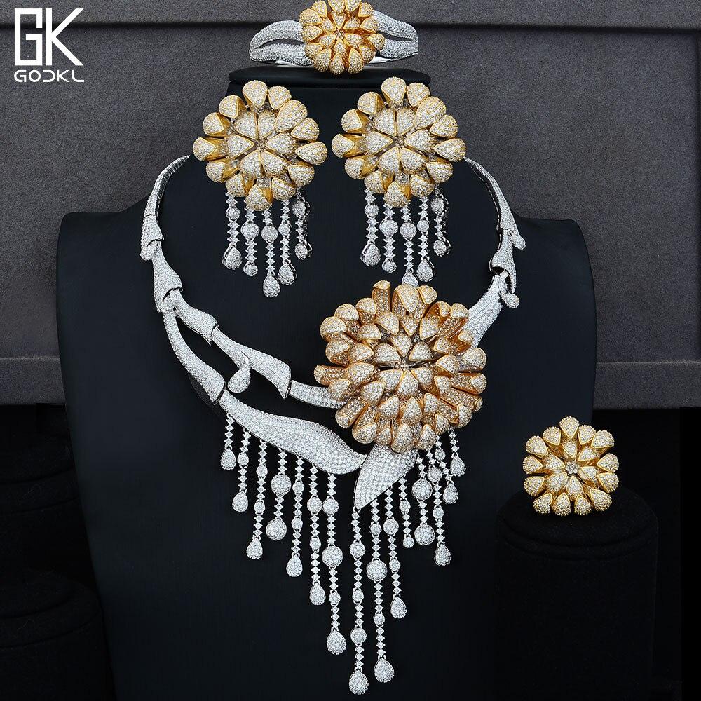 GODKI Super BIG Luxury Daisy Flower 4PCS African Jewelry Sets For Women Wedding Zircon Crystal CZ Party Dubai Bridal Jewelry SetGODKI Super BIG Luxury Daisy Flower 4PCS African Jewelry Sets For Women Wedding Zircon Crystal CZ Party Dubai Bridal Jewelry Set