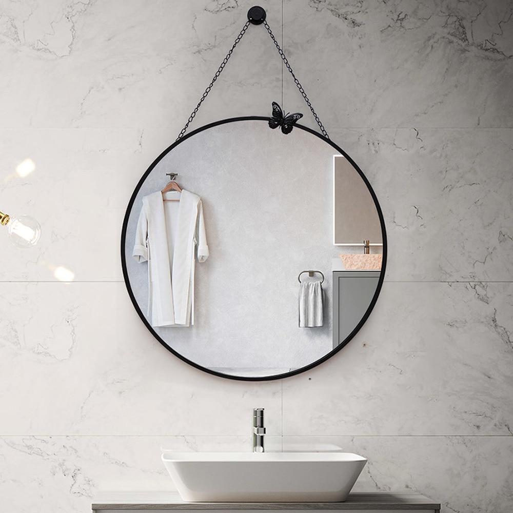 Nordic Bathroom Mirror Wall Hanging Bathroom Mirror Makeup Mirror Toilet Toilet Decorative Mirror Round Lm3181558 Bath Mirrors Aliexpress