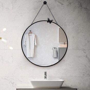 Nordic bathroom mirror wall hanging bathroom mirror makeup mirror toilet toilet decorative mirror round LM3181558