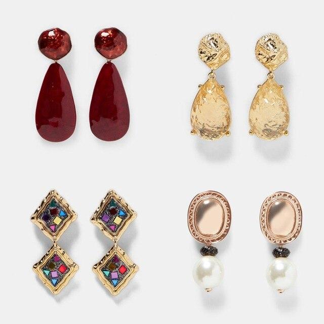 Best lady Fashion ZA Resin Drop Earring For Women Wedding Jewelry Boho Elegant Shiny Dangle Statement Earrings Christmas Gifts 1