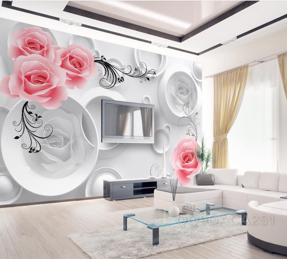 3d Wallpaper Living Room Modern 3d Wallpaper Geometric Flower Rose