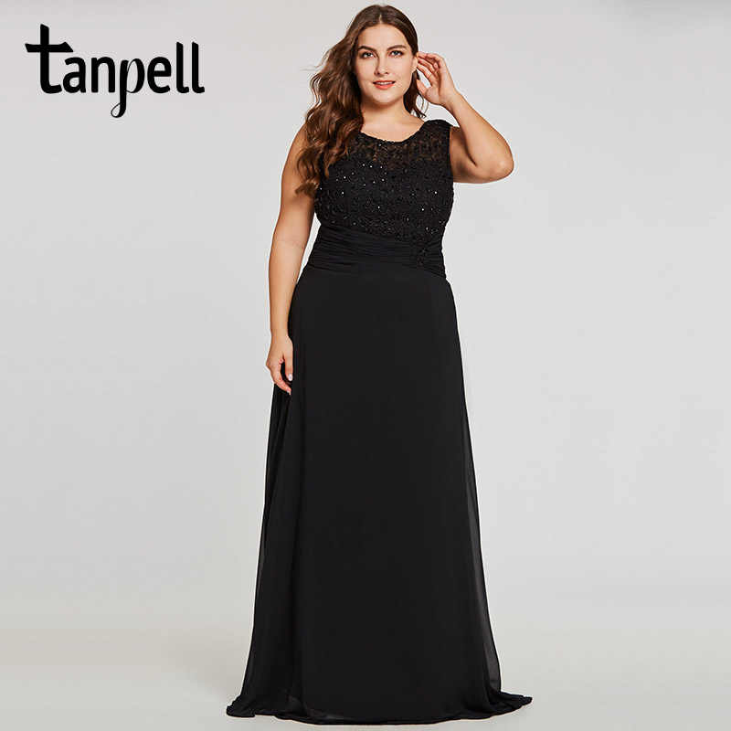 Tanpell long plus evening dress black scoop sleeveless appliques a line  floor length gown beaded lace 067b25480709