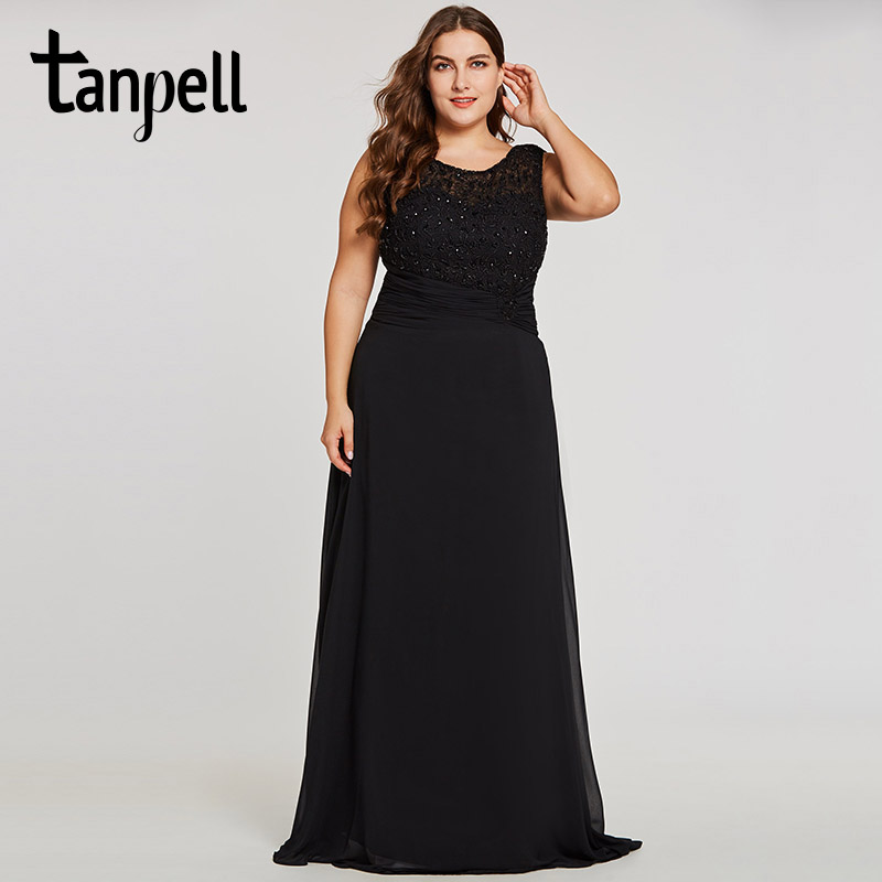 Tanpell long plus evening dress black scoop sleeveless appliques a ...