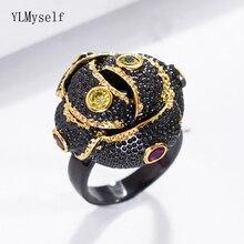 Black rings for women bud flowerJewellery aneis feminino Multi crystal anel preto anillos aneis bague jewelry Finger Ring