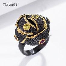 Черные кольца для женщин бутон цветок ювелирные изделия aneis
