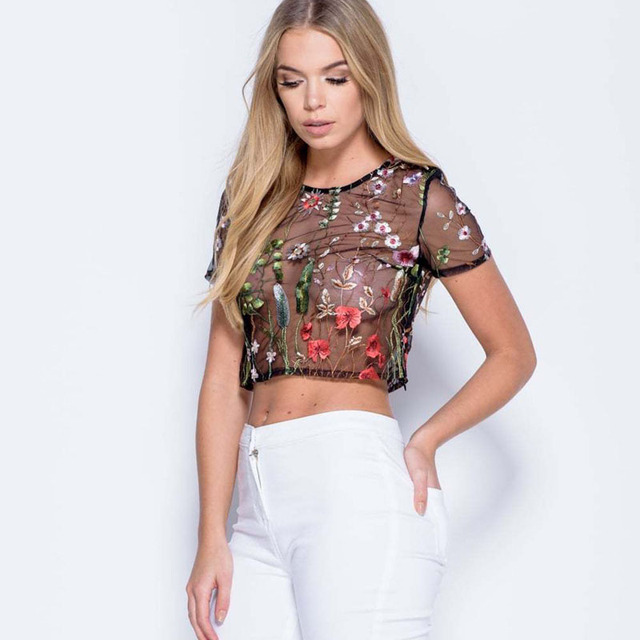 82a60c3e154 NuoJin Women's Blouses Tops Black Crochet Flower Embroidered Mesh Top O  neck Short Sleeve Crop Tops Mujeres 2017 Summer Blusas