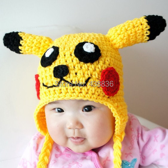 Free Shipping Crochet Knitted Pikachu Hat Newborn Infant Toddler ...