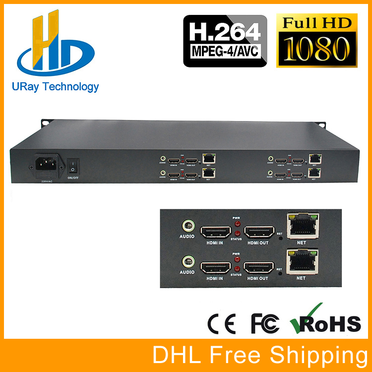 DHL Free Shipping 1U Rack 4 Channels HDMI To IP HD Video Audio RTSP RTMP Encoder Hardware H.264 /AVC For IPTV, Live Streaming