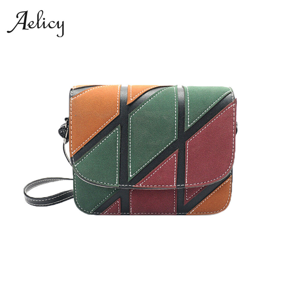 Aelicy 2018 PU leather Women Patchwork shoulder bag Small Retro Handbag Female Crossbody Bags Bolsas Bolsos Mujer Bolsas 0914 2017 women handmade patchwork wool pu leather shoulder bag vintage retro cute china red small cell phone funky crossbody bag