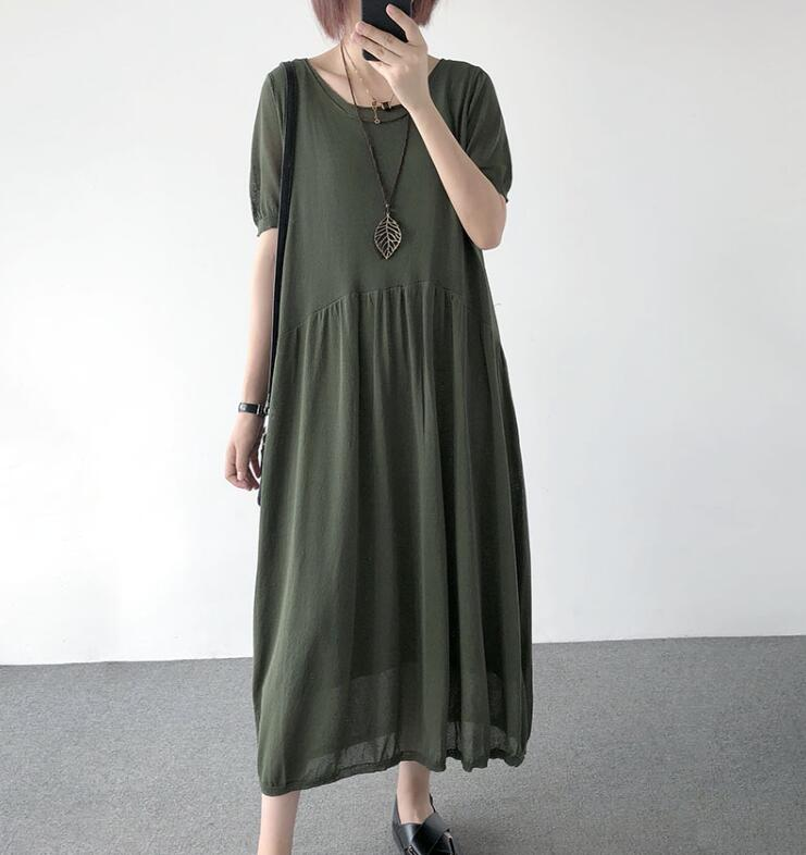 YoYiKamomo Linen Women Dress 2018 Summer Thin Big Size Knitt Dress Short Sleeve Loose Korean Loose Robe