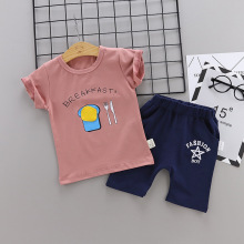 2 Pcs/set Hot Sale Boys Clothing Children Summer Boys Clothes Cute Poached Egg Kids Boy Clothing Set T-shit+Pants Cotton hot sale 2016 new style letter fashion children boy girl baseball uniform 100% cotton active kids clothes set