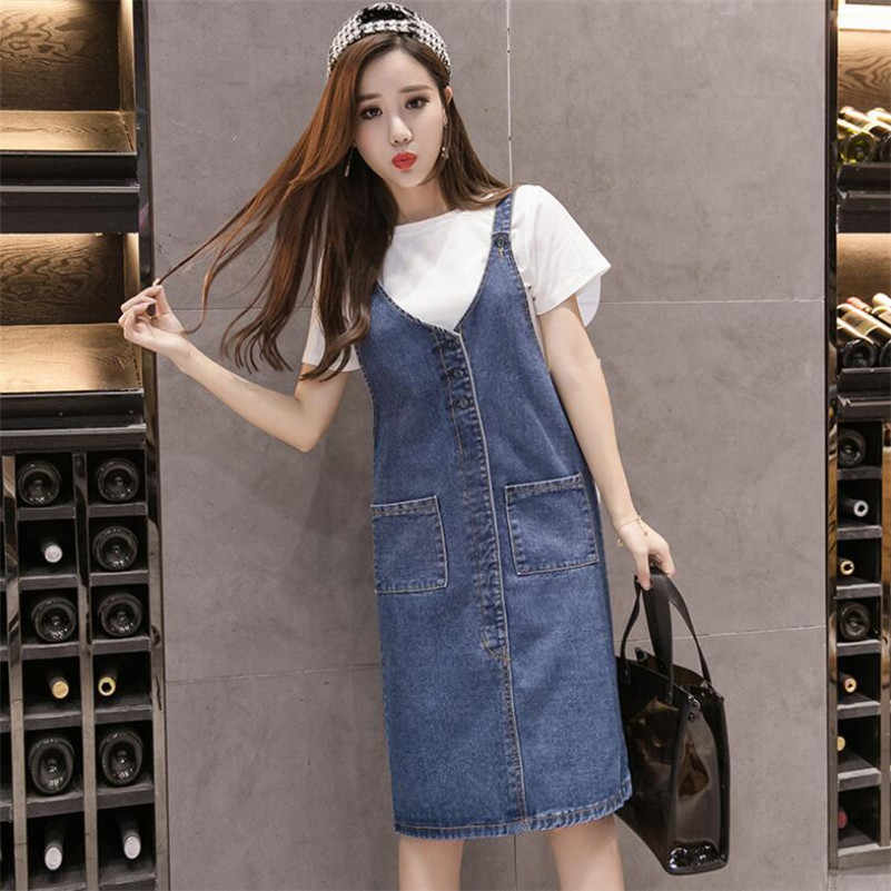 3aff701a88b81 2019 Spring Summer Women Denim Dress Sundress Female Casual Loose Solid  Spaghetti Strap Jeans Dress Plus Size 5XL r759