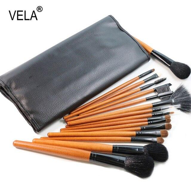 Pelo natural de Maquillaje Cepillo Conjunto 16 unids de Alta Calidad Herramientas de Belleza Kit con el Caso