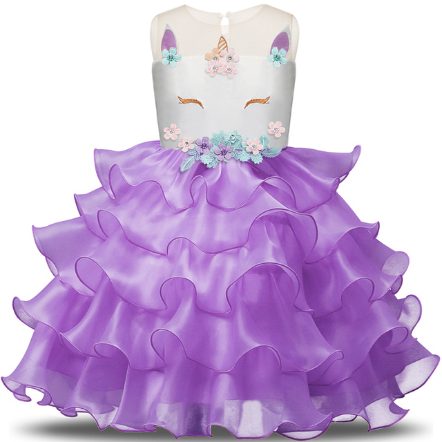 943ef49ffe8f Fancy Girl Unicorn Dress Princess Tulle Dresses Junior Cosplay Clothes  Flower Girls Embroidery Wedding Gown Roupa Unicornio 3 8T-in Dresses from  Mother ...