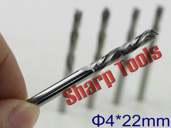 4x22mm Up& Down 2 Flute End Mill CNC wood cutter bits, 5 pcs/set Tungsten Carbide milling cutter CNC router bits for wood MDF