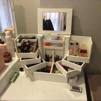 Lưu trữ Hộp lớn mỹ phẩm lưu trữ drawer loại băng băng cover gương với 90 độ xoay gỗ makeup hộp đồ trang sức t