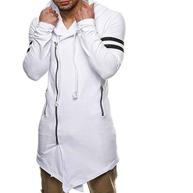 539deafa82 New masculino Longo Assimetria Zipper Com Capuz T camisa branca Preta  Longline dos homens Com Zip