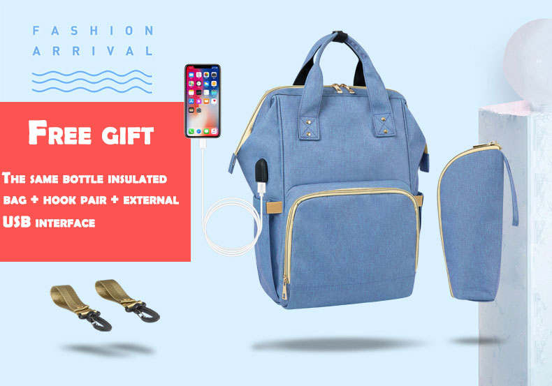 HTB1KfRAd.GF3KVjSZFvq6z nXXau Fashion Mummy Maternity Nappy Bag Waterproof Diaper Bag With USB Stroller Travel Backpack Multi-pocket Nursing Bag for Baby Care